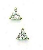 14k Golden 5 Mm Trilliant Cz Post Stud Earrings