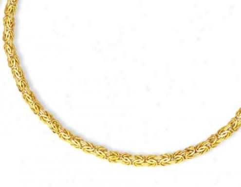 14k Golden 5.9 Mm Byzantine Necklace - 18 Inch