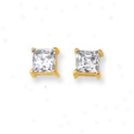 14k Yellow 5mm Square Cz Earrings