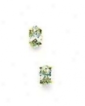 14k Yellow 5x3 Mm Oval Cz Friction-back Post Stud Earrings