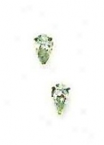 14k Golden 5x3 Mm Pear Cz Friction-back Post Stud Earrings