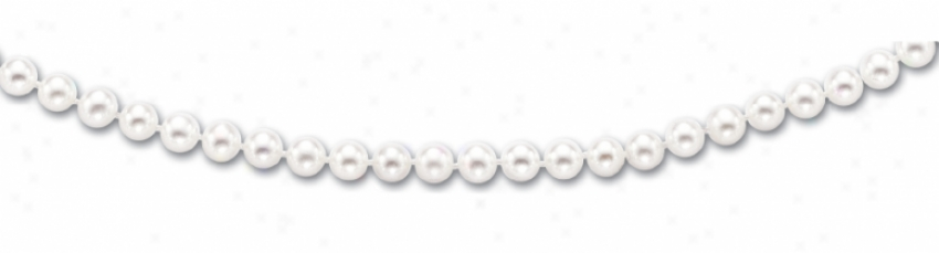 14k Yellow 6-6.5 Mm Fresh Water White Pearl Bracelet - 7 Inc