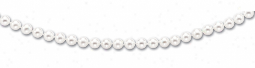 14k Yellow 6-6.5 Mm Fresh Water White Pearl Necklace - 16 In