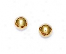 14k Yellow 6 Mm Ball Friction-back Post Post Earrings