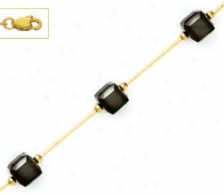 14o Yellow 6 Mm Cube Black Crystal Bar Station Necklace - Cho