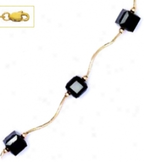 14k Yellow 6 Mm Cube Black Crystal Necklace - Choice 18-inch