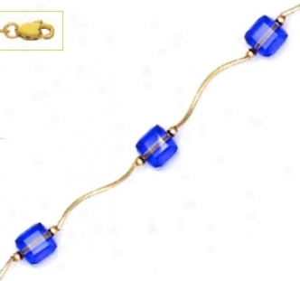 14k Yellow 6 Mm Cube Capri-blue Crystal Necklace - Choice 18-