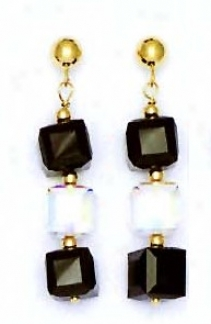 14k Ywllow 6 Mm Cube Clear And Jet-black Crystal Earringa