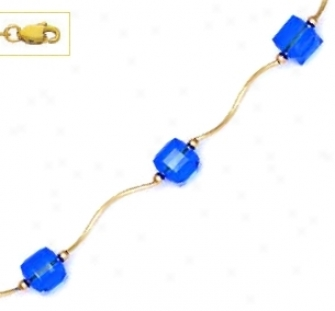 14k Yellow 6 Mm Cube Dark Blue Crystal Necklace - Choice 18-i