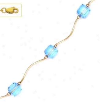 14k Yellow 6 Mm Cube Light Blue Crystal Necklace - Choice 18-