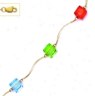 14k Yellow 6 Mm Cube Orange Unripe And Blue Crystal Necklace -