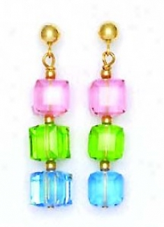 14k Yello w6 Mm Cube Pink Green And Blue Crystal Earrings