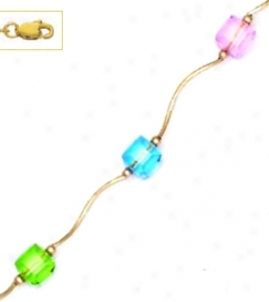 14k Yellow 6 Mm Cube Pink Green And Blue Crystal Necklace - C