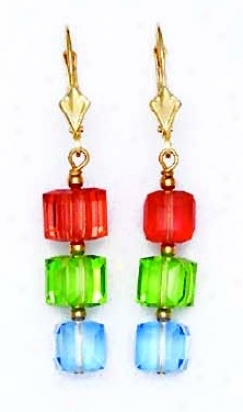 14k Yellow 6 Mm Cube Red Green And Blue Crystal Earrings