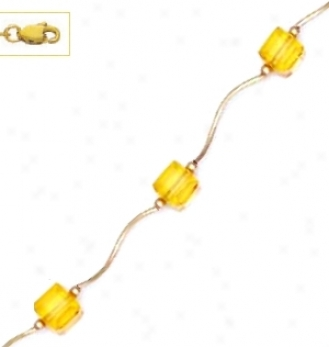 14k Yellow 6 Mm Cube Yellow Crystal Necklace - Choicce 18-inch