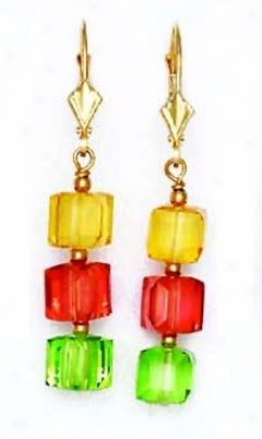 14k Yellow 6 Mm Cube Yeklow Red And Green Crystal Earrings