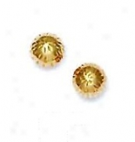14k Yellow 6 Mm Diamond-cut Ball Earrings