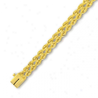 14k Yellow 6 Mm Increase twofold Row Solid Rope Bracelet - 8 Inch