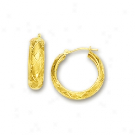 14k Yellow 6 Mm Fancy Woven Pagtern Hoop Earrings