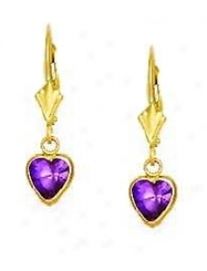 14k Yellow 6 Mm Heart Amethyst-purple Cz Drop Earrings
