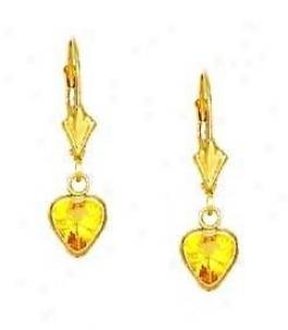 14k Yellow 6 Mm Heart Citrine-yellow Cz Drop Earrings
