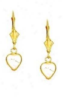 14k Yellow 6 Mm Heart Clear Cz Drop Earrings