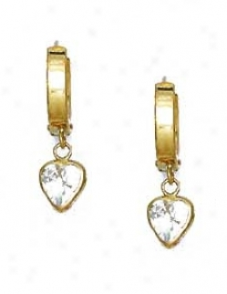 14k Yellow 6 Mm Heart Clear Cz Drop Hinged Earrings