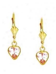 14k Yellow 6 Mm Heart Rose-pink Cz Drop Lever-back Earrings
