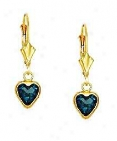 14k Yellow 6 Mm Heart Topaz-blue Cz Drop Lever-back Earrings