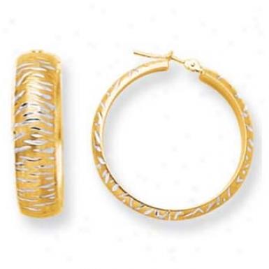 14k Yellow 6 Mm Modern Design Diamond-cut Hoop Earrlngs