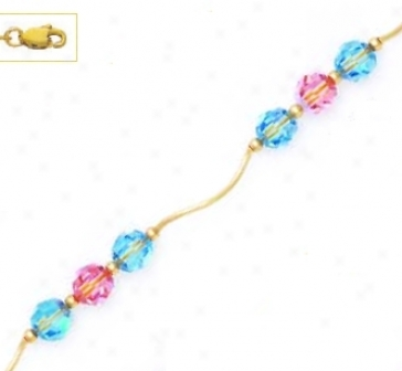 14k Yellow 6 Mm Round Bluue And Stab Crystal Neck1ace - Choice