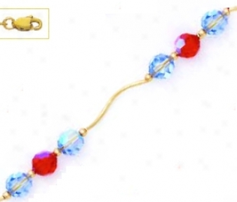 14k Yellow 6 Mm Round Blue And Red Crystal Necklace