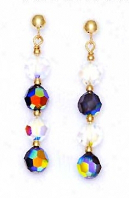 14k Yellow 6 Mm Round Clear And Jer-rainbow Crystal Earrings