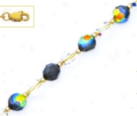 14k Yellow 6 Mm Round Clear And Jet-rainbow Crystal Necklace