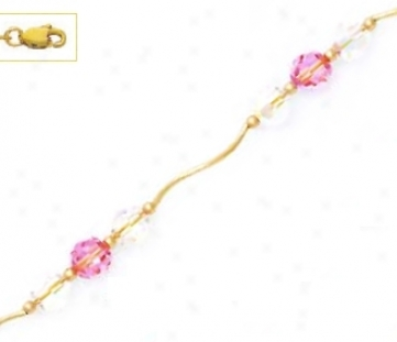 14k Yellow 6 Mm Round Clear And Pink Crystal Necklace