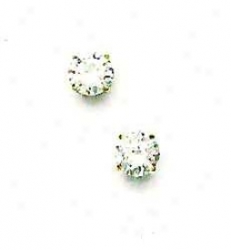 14k Yellow 6 Mm Round Cz Friction-back Post Stud Earrings