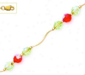 14k Yellow 6 Mm Round Green And Orange Crystal Necklace - Cho
