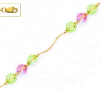 14k Yellow 6 Mm Round Green And Pink Crystal Necklace - Choic