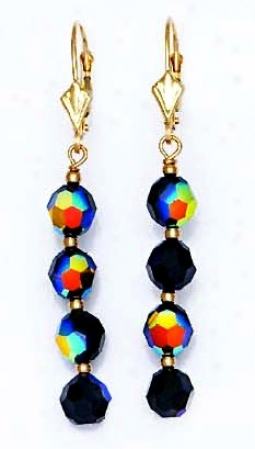 14k Yellow 6 Mm Round Jet-rainbow Crystal Drop Earrings