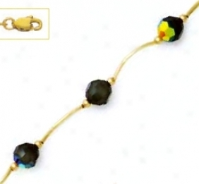 14k Yellow 6 Mm Rounx Jet-rainbow Crystal Necklace - Choice 1