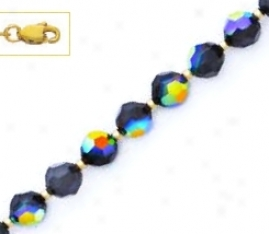 14k Yellow 6 Mm Round Jet-rainbow Crystal Necklace