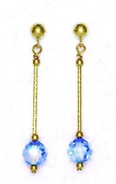 14k Yellow 6 Mm Round Light-blue Crystal Drop Earrings