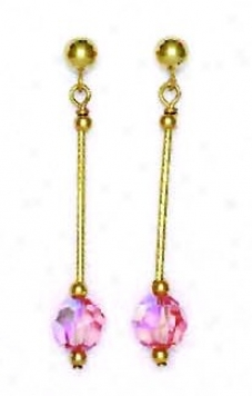 14k Yellow 6 Mm Round Light-rose Crystal Drop Earrings