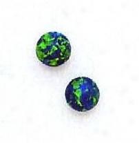 14k Yellow 6 Mm Spherical Mysterious Green Opal Earrings