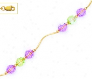 14k Yellow 6 Mm Round Purple And Green Crystal Necklace - Cho