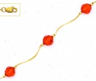 14k Yellow 6 Mm Round Red Crystal Necklace