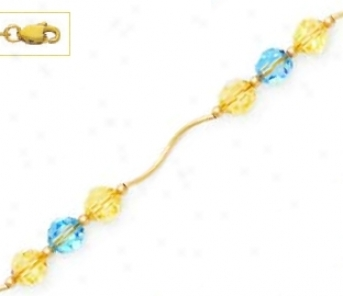14k Yellow 6 Mm Round Yellow And Blue Crystal Necklace - Choi