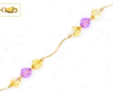 14k Yellow 6 Mm Round Yellow And Purple Crystal Necklace - Ch