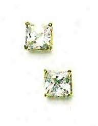 14k Yellow 6 Mm Square Cz Friction-back Post Stud Earrings