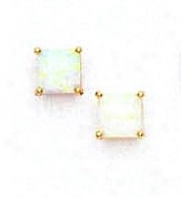 14k Yellow 6 Mm Square Opal Friction-back Post Stud Earrings
